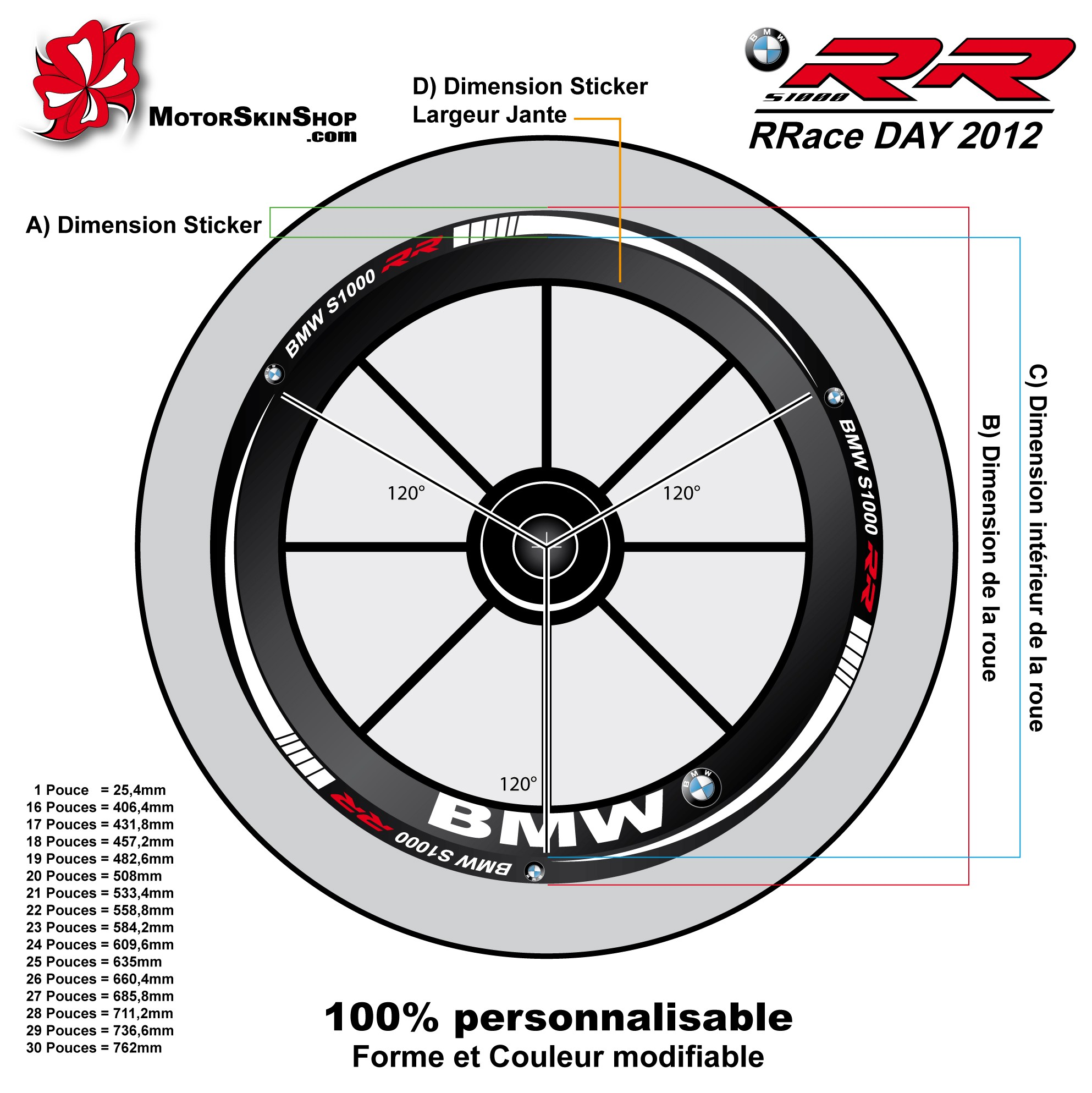 Sticker jante moto sportive bmw rr rrace day