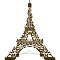 Sticker Tour Eiffel 3D Vecteur au trait couleur