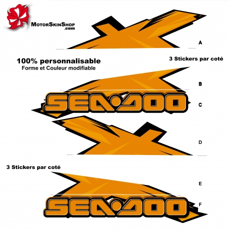 Sticker X RXT Seadoo 3 Places