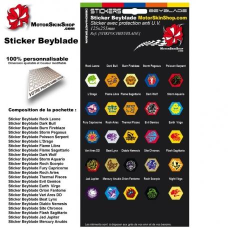Pochette Sticker Beyblade Toupie (25 stickers)