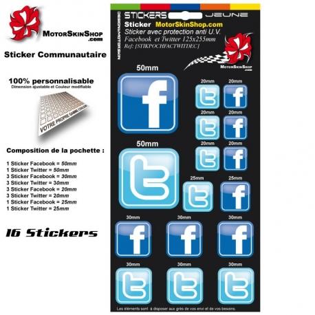 Pochette Sticker Facebook Twitter autocollant