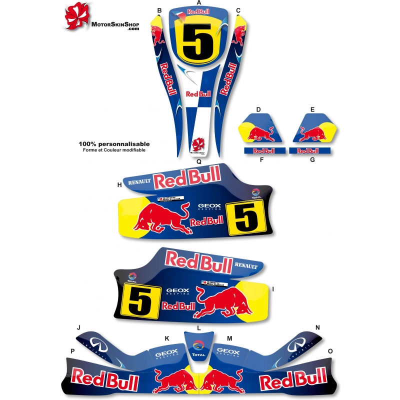Kit déco Karting KG Unico F1 Red Bull Renault. Loading zoom