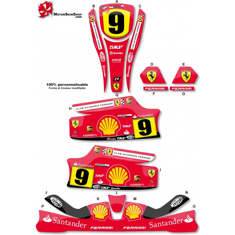 Kit déco Karting KG Unico F1 Ferrari. Loading zoom