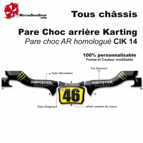 Kit Déco Pare choc arrière Karting CIK14 Monster Energy