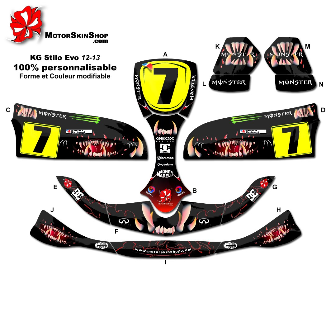 Kit déco Karting Stilo Evo 12,13 Monster Motorskin