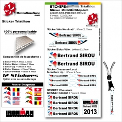 Sticker nominatif Triathlon ironman personnalisable