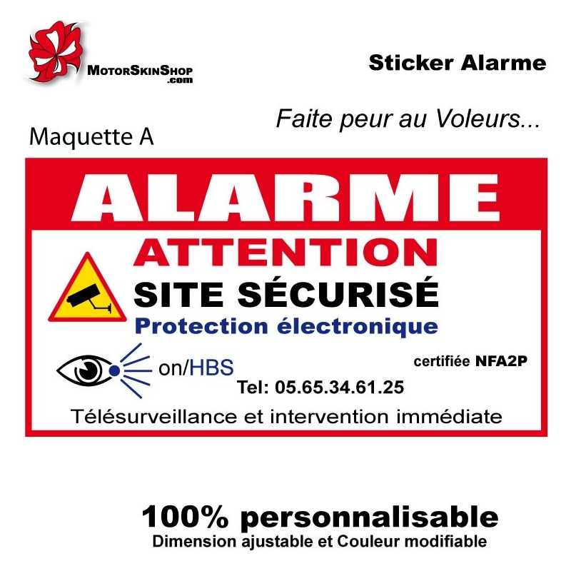 Sticker alarme maison autocollant alarme for Alarme infrarouge maison