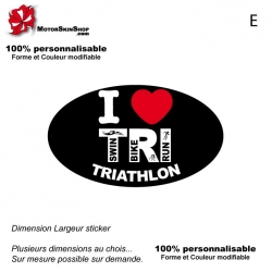 Sticker Logo I LOVE Triathlon Noir