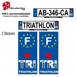 Sticker plaque immatriculation Triathlon