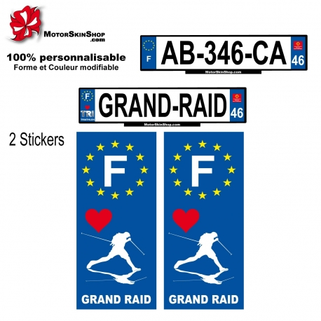 Sticker plaque immatriculation Grand Raid