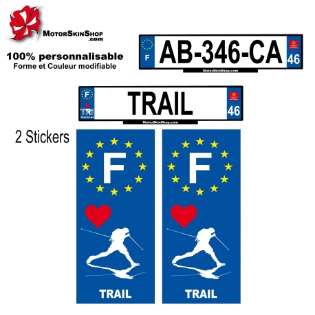 Sticker plaque immatriculation Trail