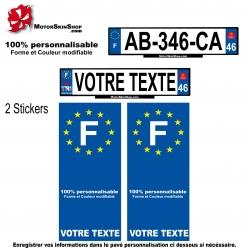 Sticker plaque immatriculation Personnalisable