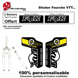 Sticker fourche vélo Fox VTT JAUNE
