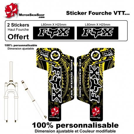 Sticker fourche vélo Fox VTT JAUNE