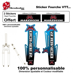 Sticker Fourche Vélo Marzocchi Dégradé bleu VTT
