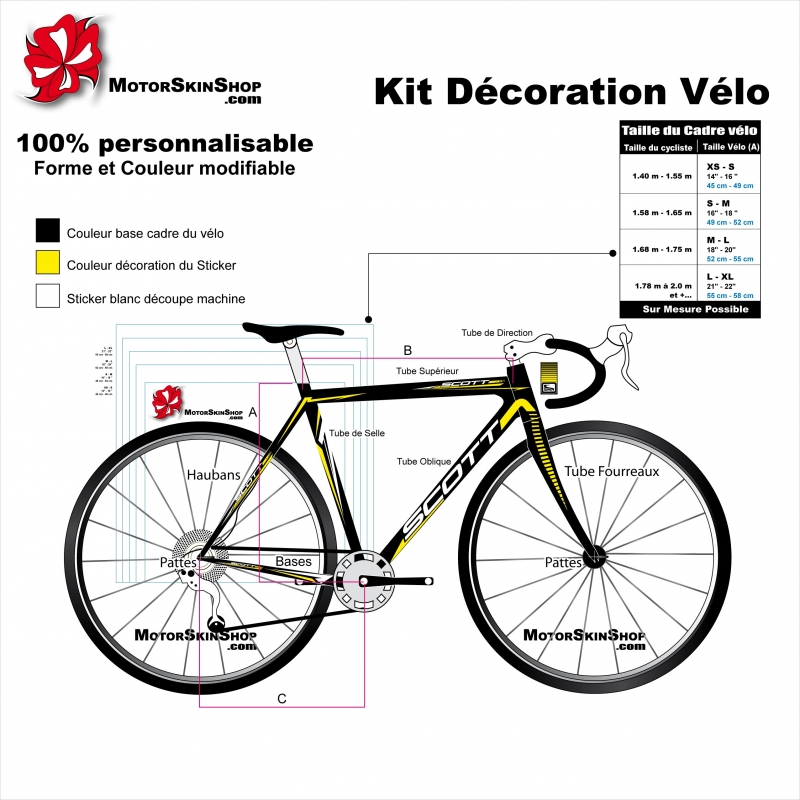 Sticker cadre route scott v lo autocollant course complet for Velo decoration