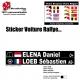 Sticker nominatif Pilote Rallye personnalisable