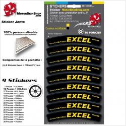 Planche Sticker Jante Excel Tagasago Rims