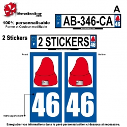 Sticker plaque immatriculation bonnet rouge