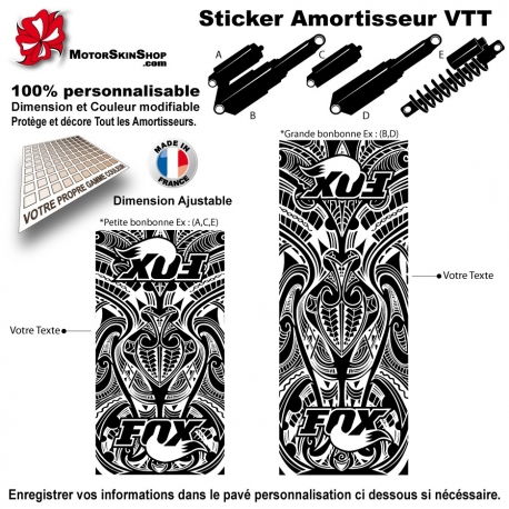 sticker amortisseur vtt fox tribal bonbonne. Black Bedroom Furniture Sets. Home Design Ideas