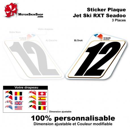 Sticker Plaque numéro RXT 3 places