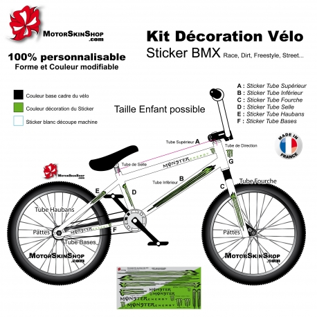 Kit décoration Vélo BMX Monster Energy Sticker complet