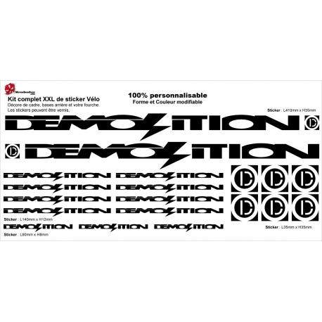 Sticker Kit cadre BMX Demolition Taille XXl