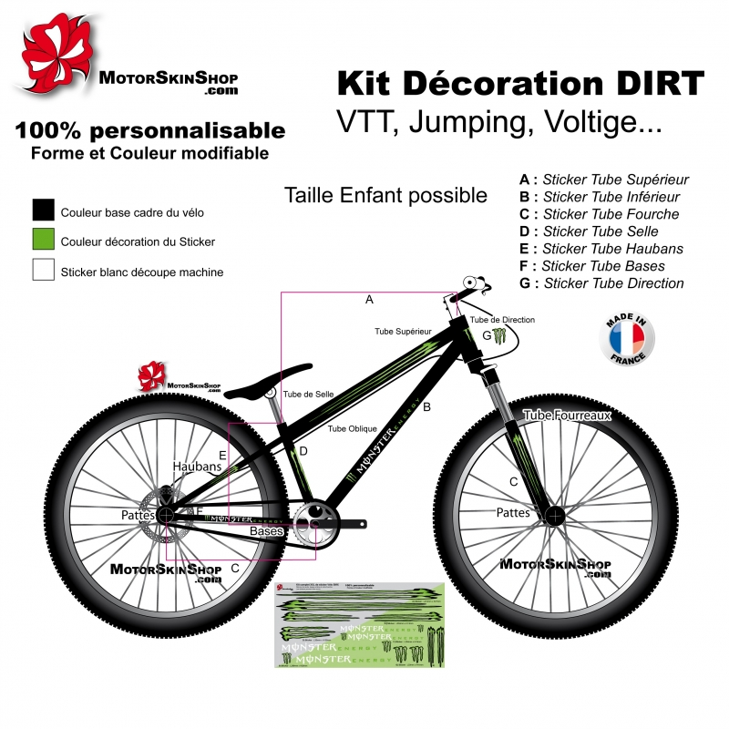 Sticker cadre vtt dirt d coration v lo monster energy for Velo decoration