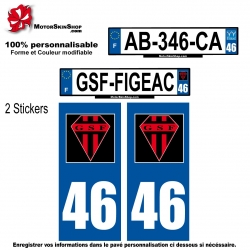 Sticker plaque immatriculation GSF rugby