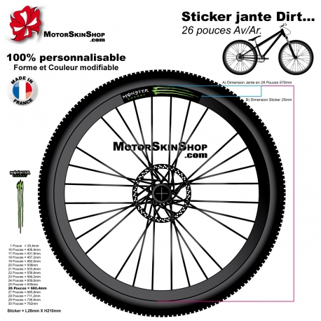 Sticker jante Dirt VTT Monster Energy