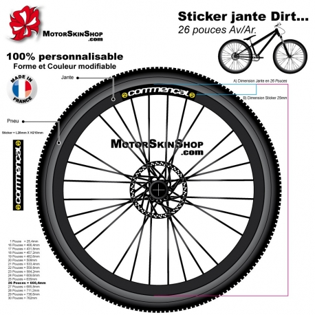 Sticker jante Dirt Commencal VTT