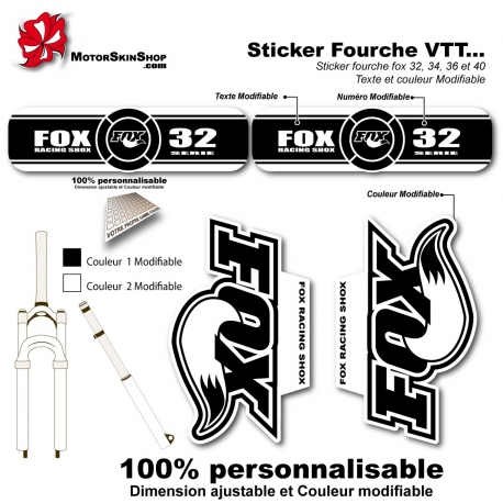 Sticker fourche FOX 32 34 36 40 Blanc