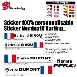 Sticker nominatif Pilote Karting personnalisable