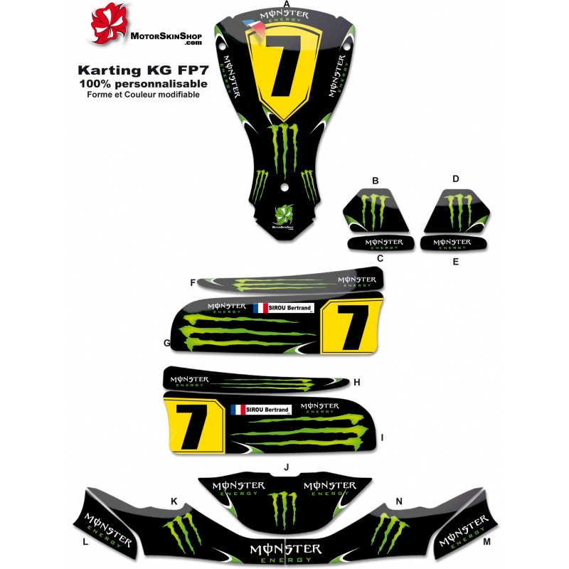 Kit d co karting kg fp7 motorskin monster energy for Deco karting