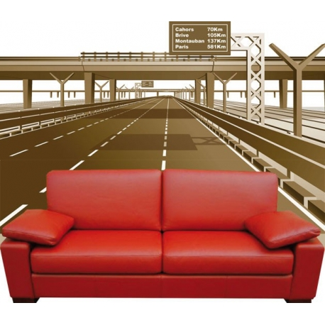 Décoration Géante autoroute mur complet 3D Vecteur.