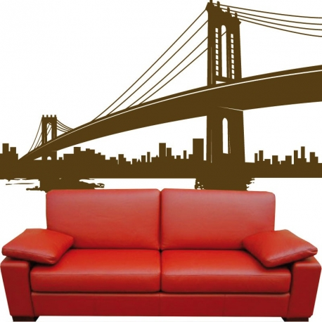 sticker pont new york trompe l 39 il grand format. Black Bedroom Furniture Sets. Home Design Ideas