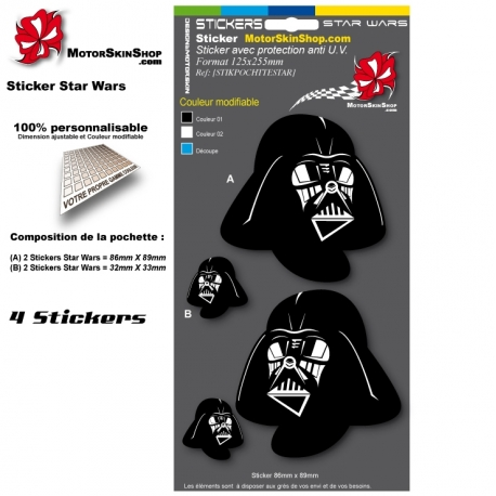 Planche Sticker casque Star Wars