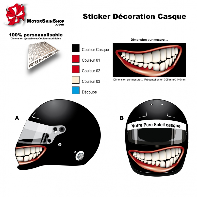 d coration sticker casque aerographe sourire mentonni re. Black Bedroom Furniture Sets. Home Design Ideas