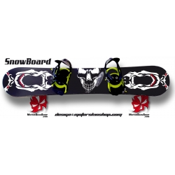 Sticker SnowBoard Skull personnalisable