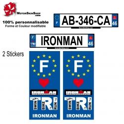 Sticker plaque immatriculation Ironman