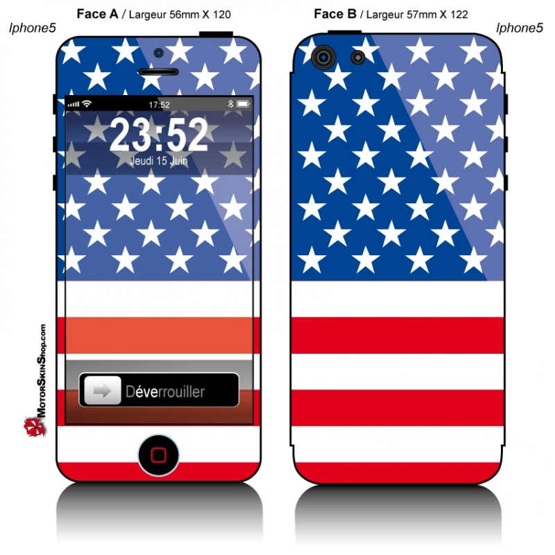 sticker iphone 5 drapeau am ricain. Black Bedroom Furniture Sets. Home Design Ideas