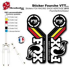 Sticker Fourche fox 2015 Noir Jaune Rouge