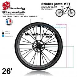 Sticker jante VTT votre Texte personnalisé