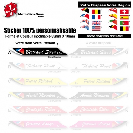 Sticker nominatif Vélo personnalisable plus drapeau