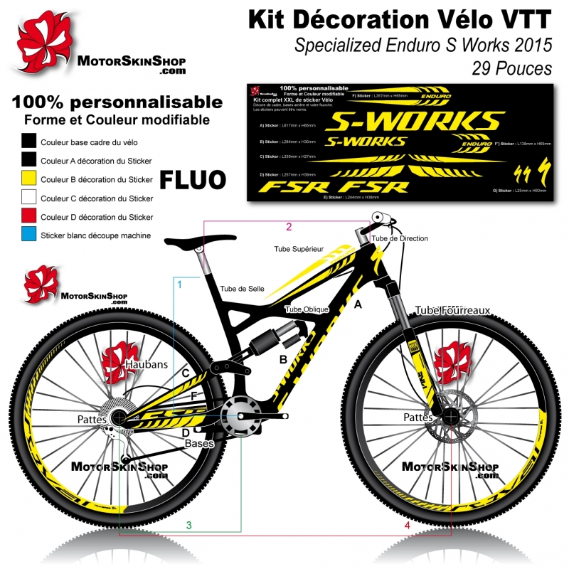 sticker cadre vtt specialized enduro s works 2015. Black Bedroom Furniture Sets. Home Design Ideas