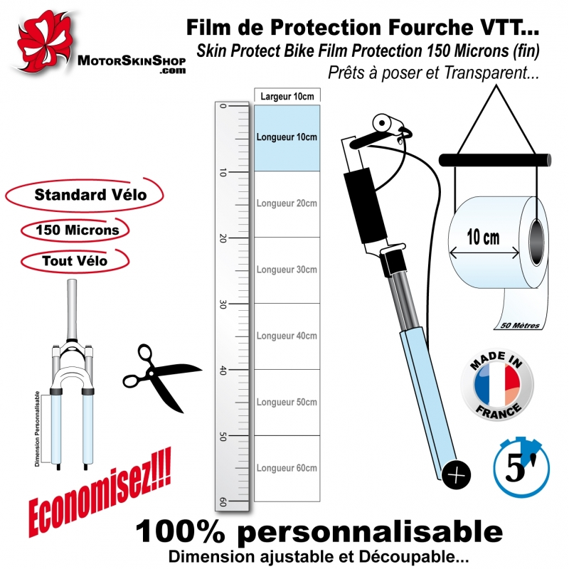 film de protection fourche vtt fin conomique. Black Bedroom Furniture Sets. Home Design Ideas
