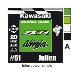 Sticker Prise et Interrupteur électrique Moto Sportive Kawasaki.