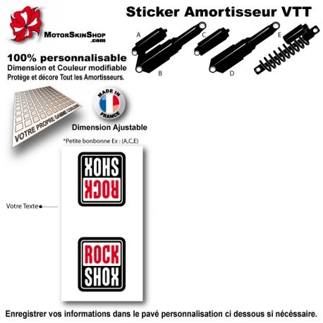 Sticker Amortisseur VTT RockShox Blanc Bonbonne