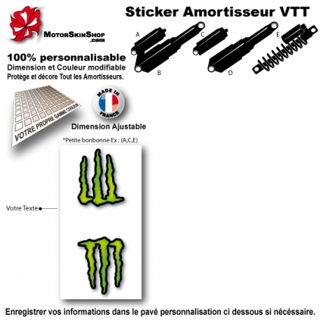 Sticker Amortisseur VTT Monster Energy Blanc Bonbonne