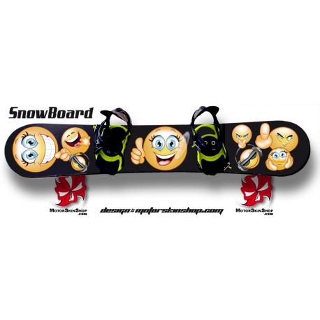 Sticker SnowBoard Smiley Emoticone personnalisable